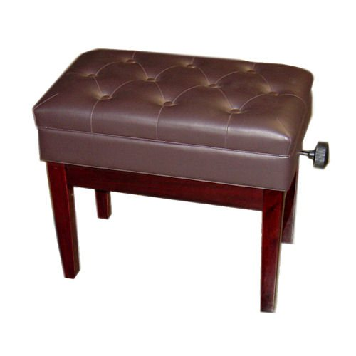 Adjustable Piano Bench, Deluxe (Polished Mahogany)