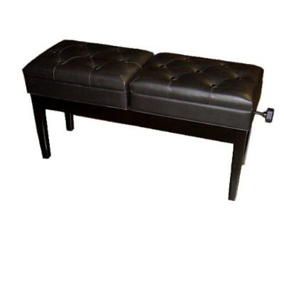 Double Piano Bench, Adjustable (Polished Black)