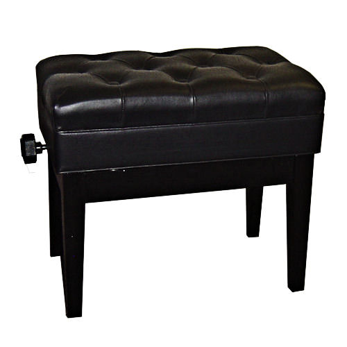 Adjustable Piano Bench, Leather (Polished Black)